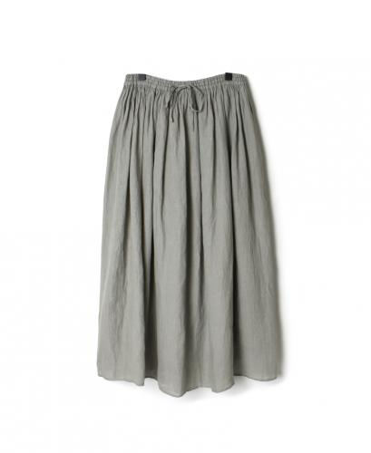 NMDS21145 80'S POWER LOOM LINEN PLAIN GATHERED SKIRT