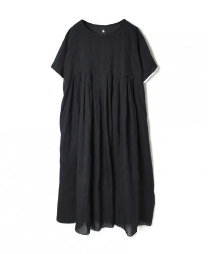 INMDS21003 80'S HANDWOVEN LINEN PLAIN WITH SELVAGE INVERTED PLEAT SHORT S/L PULLOVER DRESS