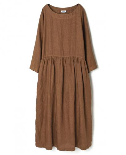 NAM2122LP LINEN PLAIN(OVER DYE) BOAT NECK L/SL ONE-PIECE